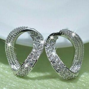New Sterling silver diamond earrings